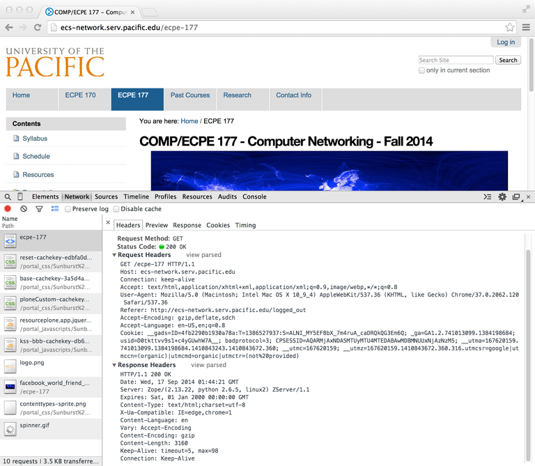 Chrome Inspect Element HTTP Headers